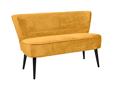 lifestyle4living Esszimmerbank mit Rückenlehne, Gelb, 2-Sitzer, Vintage Look, rückenecht | Sitzbank für Esszimmer mit bequemer Polsterung - Füße schwarz Massiv-Holz