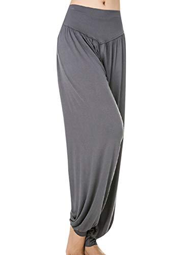 Abtel Pantalones harén sueltos casuales para mujer, pantalones de yoga, pantalones holgados, bohemios, color sólido, cintura alta, para entrenamiento, danza, yoga, pantalones deportivos