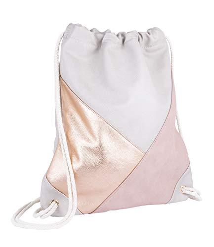 SIX Rucksack, Sportbeutel aus beigem veganen Leder, Beiger Kordelnzug, Aufnäher in rosé-Gold aus Lederimitat und rosa Velourslederoptik (726-764)