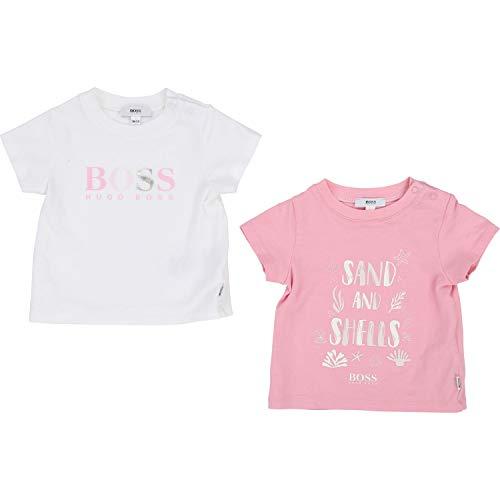 Hugo Boss Camiseta de dos piezas con estampado metálico. rosa / blanco...
