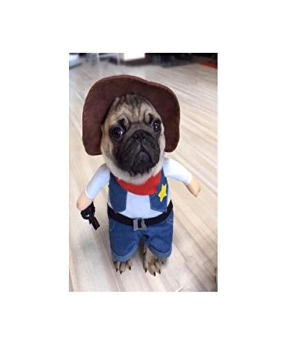GHYSTORM Ropa para Perros Cosplay para Perros pequeños Chaqueta de Bulldog francés de Invierno Permanente Perro de Dibujos Animados Disfraz de Halloween Ropa para Mascotas Chihuahua-Estilo Vaquero_SG