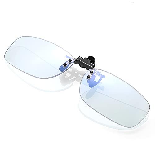 KLIM Protect OTG Brillen Clip on Gläser gegen blaues Licht – Guter Schutz bei der Arbeit am Bildschirm - Gaming Brillen PC Mobil TV - Anti Augenmüdigkeit Anti UV Anti blaues Licht - NEU