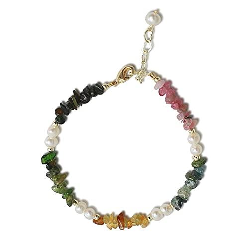 hongruida Pulsera de perlas de agua dulce natural de color azul, amarillo, rosa, regalos para mujeres, joyas vintage, pulsera de perlas de colores (color de la gema: blanco)