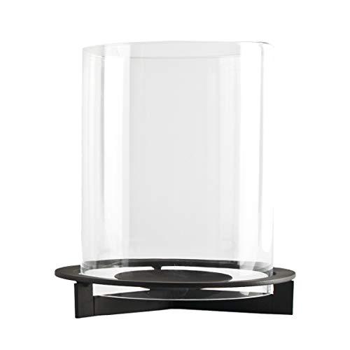 Windlicht Nobel aus Metall | mit extra großem Glaszylinder | modernes Design | Für große bis sehr große Kerzen | schwarzer Eisenfuß | Deko für Garten, Balkon und Terrasse (H 28 cm / Ø 25 cm)
