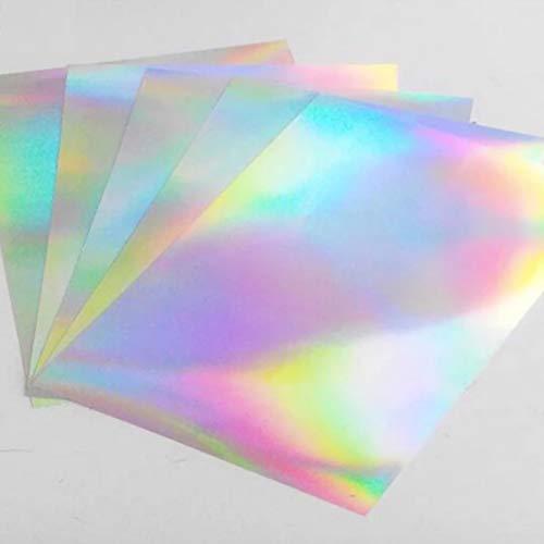 Cubic Coating 20 Blatt PREMIUM Vinyl Aufkleberfolie Holografischer Selbstklebend für Laser und Tintenstrahldrucker Drucker Schnell Trocknen A4 210 x 297 mm Selbstklebend Aufkleber