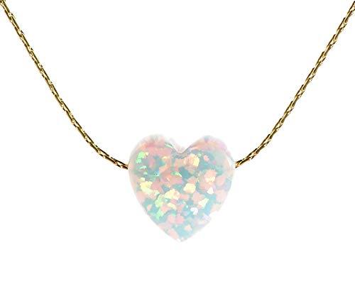 """Weiß Opal Herz Charm Halskette 14k Gold filled Kabel-Draht, Lange 16""""+ 2"""" Extender"""