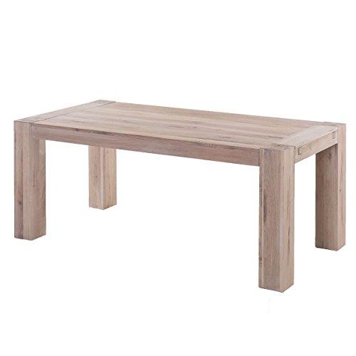 MÖBEL IDEAL Esstisch Eiche Massiv Esszimmertisch 180 x 90 cm Küchentisch Massivholz Holz Wildeiche White Wash