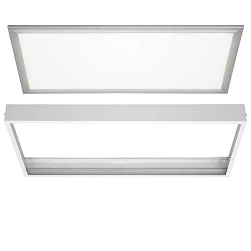 ECD Germany Dimmbar LED Panel Deckenleuchte 60x30 cm mit Rahmen 18W Kaltweiß 6000K 1450 Lumen inkl. Trafo und Aufhängeset - Ultraslim Lampe Deckenlampe Deckenpanel Wandleuchte Pendelleuchte