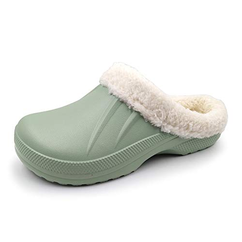 Amoji Winter Lined Clogs Crock Fur Garden Shoes Fleece Lining s Ferry Indoor Slippers Warm House Shoes Room Fuzzy Liner Furry Fluffy Mule 1534 Green 11 Women/9 Men