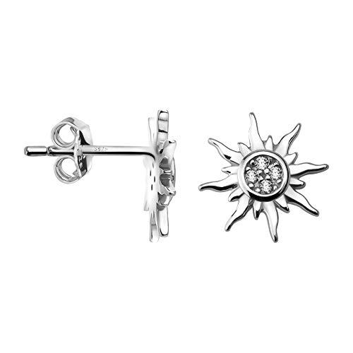 SOFIA MILANI - Pendientes para Mujeres en Plata de Ley 925 - con Circonitas - Pendientes de Sol Estrella - 20553