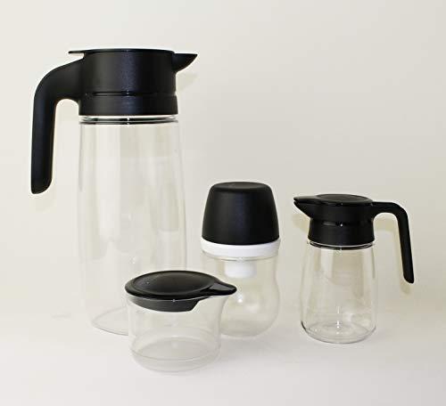 TUPPERWARE TupperTime 1,7L Kanne Saftkanne, Milchkanne + 300ml Zuckerhut klein + 350ml Milchkännchen + 250ml Milch-/Zuckerkännchen + Mini Trichter Lila