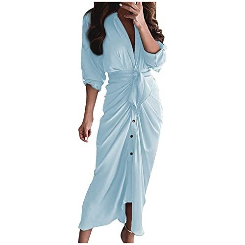 Maxikleider Damen Elegant Mit äRmel Long Shirt Kleid Damen Blusenkleid LäSsiger Kleid V Ausschnitt Abendkleider Business Kleid Wickelkleid