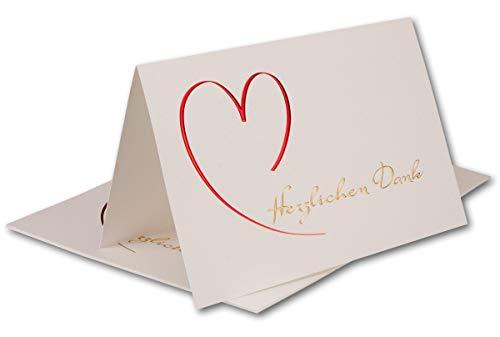 """NEUSER 10 Dankeskarten mit Umschlag Weiß DIN B6 Faltkarte - Danksagungskarte """"Herzlichen Dank"""" Creme gehämmert - Danke sagen nach Kommunion, Hochzeit, Geburt, Geburtstag - 16,8 x 11,4 cm"""