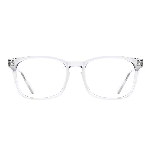 TIJN Blue Light Blocking Glasses Square Nerd Eyeglasses Frame Anti Blue Ray Computer Game Glasses(Transparent)
