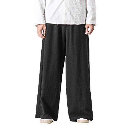 Pantalones Casuales para Hombre Pantalones Lisos Rectos Lavados Algodón Lino Piernas Anchas Sueltas Pantalones Transpirables de Estilo étnico Secado rápido