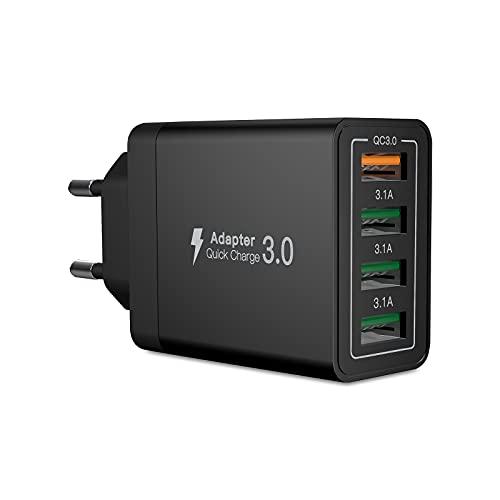 Quick Charge 3.0 Cargador USB C, 33W 3.1A Cargador USB de Pared con 4 Puertos, Carga Rapida Multiple Enchufe Rápido para iPhone 11 Pro max 12 X XS XS MAX XR,Samsung S21 S10 S8+ S9 S8,Huawei P30 P20