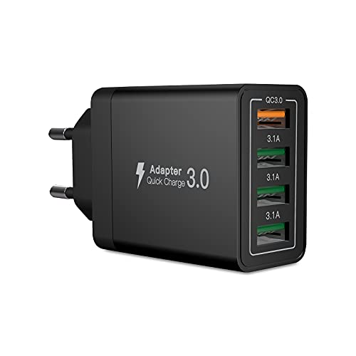 Quick Charge 3.0 Cargador USB C, 33W 3.1A Cargador USB de Pared con 4 Puertos, Carga Rapida Multiple Enchufe Rápido para iPhone 11 Pro max/12/X/XS/XS MAX/XR,Samsung S21/S10/S8+/S9/S8,Huawei P30/P20