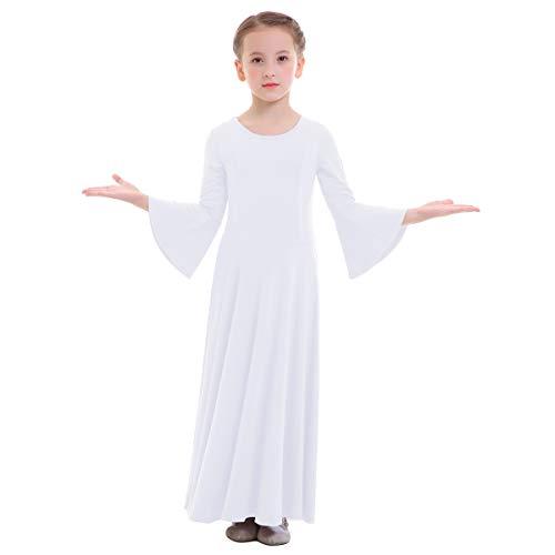 OBEEII Niñas Vestido Liturgico Danza Maillot Leotardo Gimnasia Disfraz de Baile Clásica Combinación para Danza Iglesia Ceremonia Casual 003 Blanco 5-6 Años