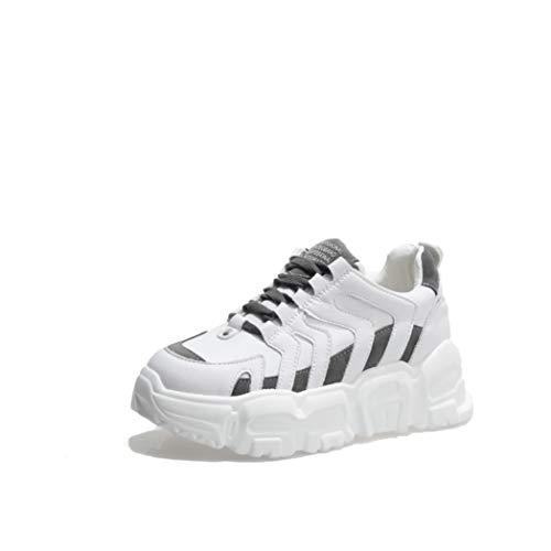 Zapatillas De Plataforma para Mujer Moda Color Mezclado Cordones Zapatos De Vulcanización Casual Low Top Flats Senderismo Running Wedge Chunky Sneakers
