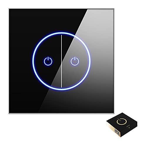 MEILINL Kit Interruptor De Pared WiFi Inteligente con Panel De Vidrio Control De App Y Función De Temporizador para Luces Eléctricas Ventiladores De Techo Cortinas