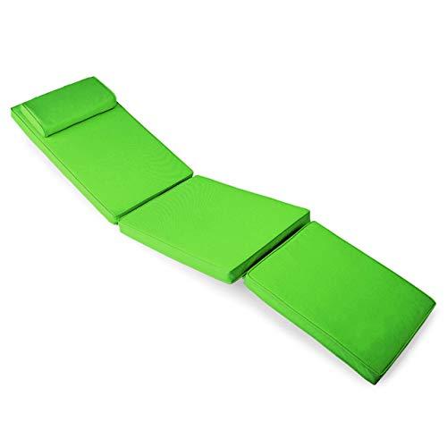 Nexos Divero Liegenauflage für Deckchair Steamer Sitzpolster für Gartenmöbel Holzliege Liegestuhl – bequem hochwertig robust – hellgrün