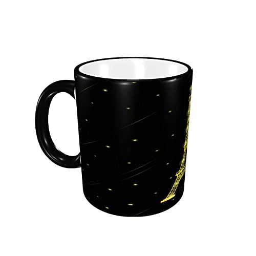 Taza de café Gloden Paris Torre Eiffel con Estrellas cayendo Alrededor, Tazas de cerámica de café con Asas para Bebidas Calientes - Té, Regalos de café 12 oz Black