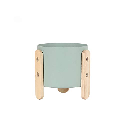 WENYOG Maceta 1pc Macaron Color Flowerpot Flower Planter Pot con Soporte de Madera Decoración para el hogar Craft Planta Verde de la Planta con Agujero Macetas Colgantes (Color : Mint Green M)