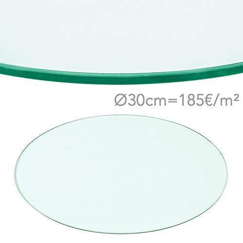 Rapid Teck® 185€/m² Glasplatte Rund Durchm. 300 mm Glastisch Tischplatte aus gehärtetem Glas Tisch Glasscheibe 8mm Dick