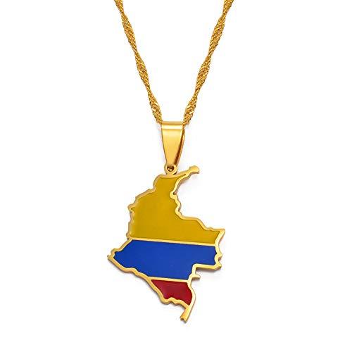 Mapa Colombiano Bandera Colgante Collar para Mujeres Niñas Color Dorado Colombia Joyería Mapa de Cadenas de Colombia