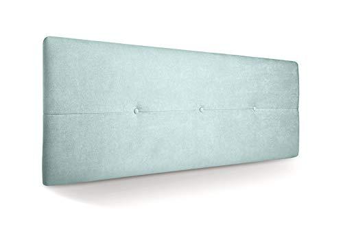 SUENOSZZZ - Cabecero de Madera Jazmin, tapizado Acolchado, en Tela Rio16 Color Verde Agua Cabeceros Madera para Dormitorio | Cama Matrimonio | Cama Juvenil | Camas de 140 cm, 135 cm, 120 cm