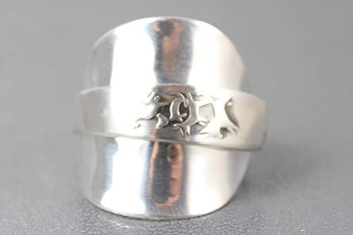 800er Silber Besteck Schmuck Ring, ca. 64 (20,4) Ring aus Silberbesteck mit Bremer Stadtmusikanten