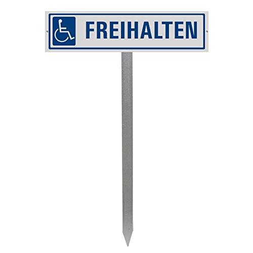 Parkplatzschild mit Einschlagpfosten BZW. Einschlagspieß und Schildhalterung Plus Parkplatzschild FREIHALTEN Nr.35438