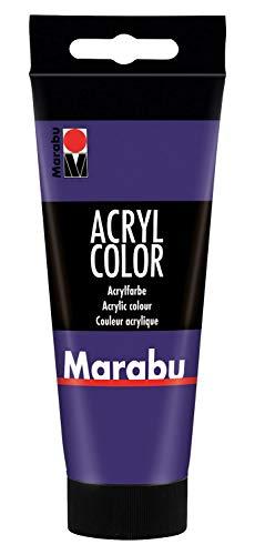 Marabu 12010050251 - Acryl Color violett 100 ml, cremige Acrylfarbe auf Wasserbasis, schnell trocknend, lichtecht, wasserfest, zum Auftragen mit Pinsel und Schwamm auf Leinwand, Papier und Holz
