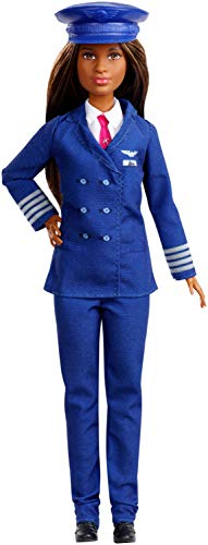 Barbie Pilot Doll Wearing Uniform and Hat, Brunette Petite Doll for 3 to 7 Year Olds