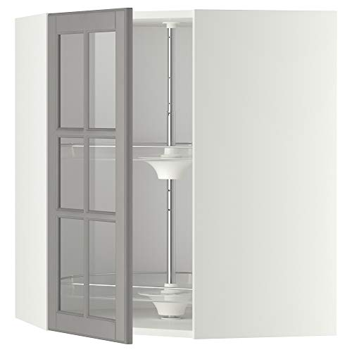 METOD narożna kabina ścienna w karuzeli/szkło dr 67,5 x 67,5 x 80 cm biały/Bodbyn szary