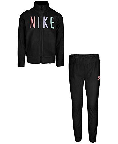 Nike Toddler Girls' Velour Shine Full Zip Track Jacket and Pants 2 Piece Set (Black(26F105-023)/Black, 18 Months)