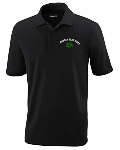 Custom Polo Performance Shirt Celtic Shamrocks Symbole Embroidery Design Polyester Golf Shirt for Men Black X Large Personalized Text Here