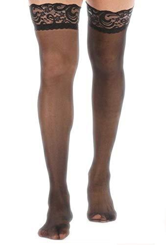 EROSPA® Halterlose Spitzen-Strümpfe Stockings Herren / Männer - Schwarz - Einheitsgröße One Size S-L