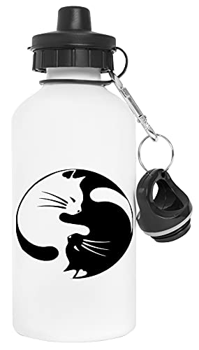 Gato Ying Yang Símbolo Botella de Agua Blanco Aluminio Reutilizable Water Bottle White Aluminium Reusable