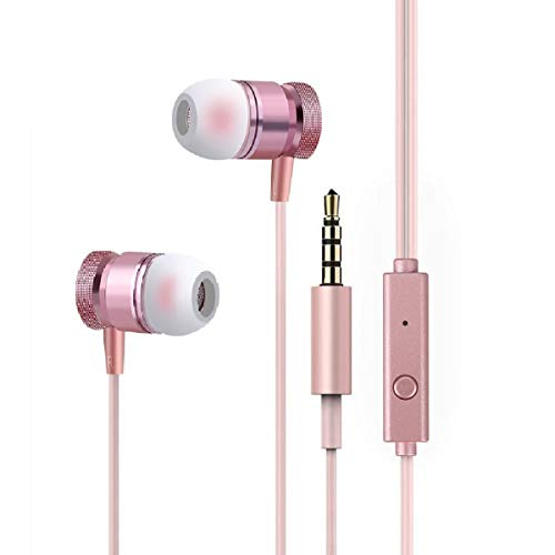 Wired Headphone Metal Earbuds by Amasing Noise Cancelling Stereo Heave Bass Earphones with Micphone Mic,in Ear Headphones Magnetic Design for iPhone 5 6 Pink Samsung M9