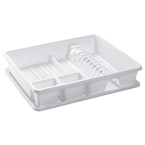 Escurreplatos de Plástico Blanco, Organizador de Cocina, Escurridor con Bandeja para Cocina