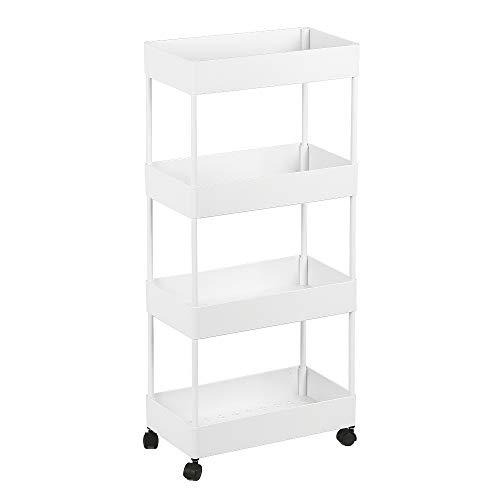 Wefun 4 Schichten Nischenregal Aufbewahrung Badregal Ordnungswagen mit Rollen zum Küche Wohnzimmer Schlafzimmer Badezimmer (Weiß)