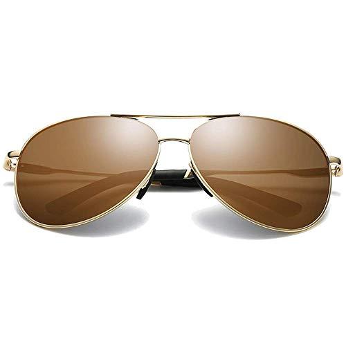 WMYATING Gafas de Sol, Ojos, a Prueba de luz, a Prueba de t Gafas de Sol de Metal polarizadas de Moda clásica Azul/marrón Gafas de Sol de conducción (Color : Brown)