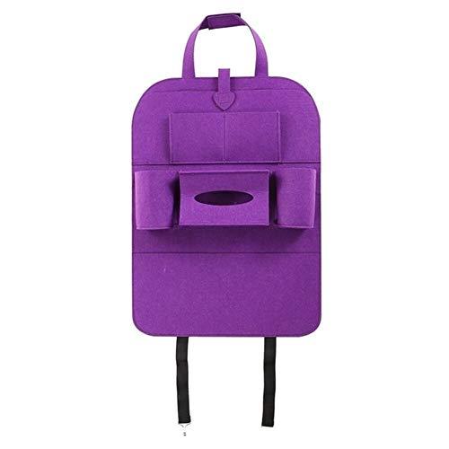 Protection siege voiture Moderne Minimaliste Mode Auto siège arrière de voiture multi-poches sac de rangement Organisateur Porte Noir Accessoire Protection (Color Name : Purple)