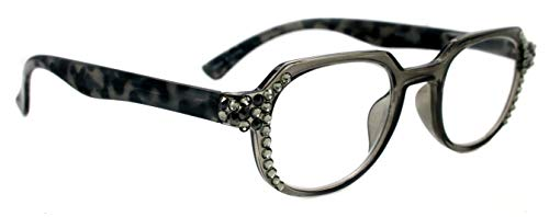 The Hexagon, Women Bling Reading Glasses Adorned w Blk Diamond + L Colorado Swarovski Crystals+1.25 +1.5 +1.75 +2 +2.25 +2.5 +2.75 +3 Clear Grey + Tortoiseshell. NY Fifth Avenue.