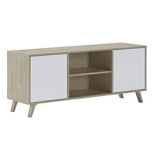 SelectionHome - Mueble de TV 140 con 2 puertas, mueble de salón comedor, Modelo Wind, color estructura Puccini, color puerta Blanco, medidas: 92 cm (ancho) x 57 cm (alto) x 40 cm (fondo)