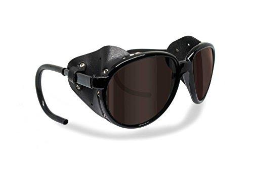 BERTONI Gafas de Sol Polarizadas de Montaña Glaciar Esqui Alpinismo Trekking - Mod. Cortina Italy – Color: Negro Brillante (Polarizada Marron)