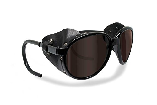 Polarized Sunglasses for Mountain Hiking Trekking Glacier Snow mod. Cortina Italy Shiny Black (Dark Brown Polarized)