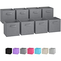 SUPERIOR STURDY DESIGN: The Royexe sturdy storage cubes will exceed your expectations for quality, durability, and style. Reinforced handles on both sides enable quick and easy carrying. DIMENSIONS: 10.5(W) x 10.5(D) x 11(H) inches (26.5 x 26.5 x 28 ...