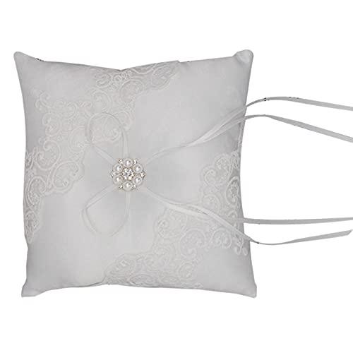 ROSEBEAR Cojín de boda con lazo y perla con cinta de satén para anillos, ceremonia de compromiso y ceremonia de boda, decoración de los amantes